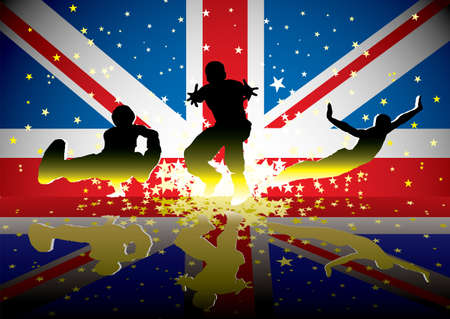 Sports people with british flag and reflection with exploding stars Stock Photo - 14872325