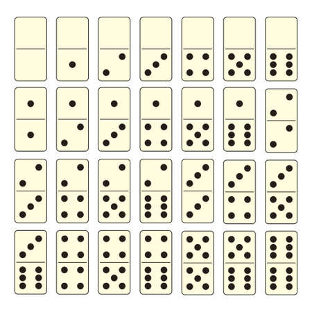 domino: Collection of old fashioned domino set with black spots Stock Photo