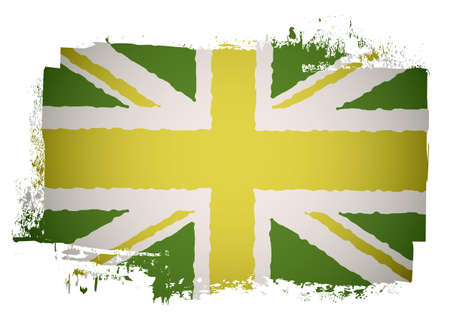 Green and yellow grunge british flag with a twist photo