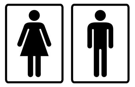 Simple black and white male and female toilet symbols Stock Photo