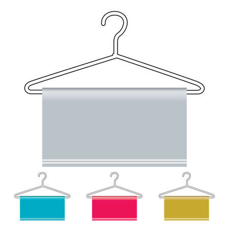 Outline coat hanger with material draped over and copy space photo