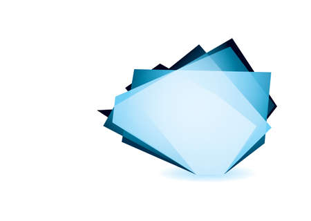 shard of glass: Blue glass shard icon with white background and copyspace