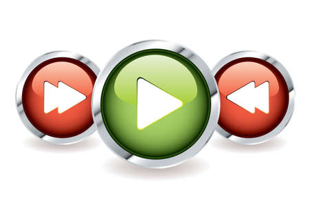 fast forward: Play and fast forward icon buttons with rewind in red and green