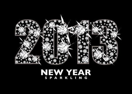 twenty thirteen: Diamond icon for the New year 2013 with black background