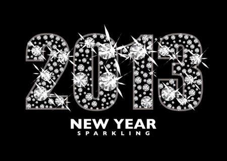 twenty thirteen: Diamond icon for the New year 2013 with black background
