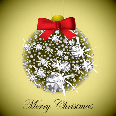 Merry Christmas concept with diamond bauble on gold background photo