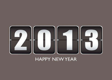 Happy new year 2013 background with ticker date calendar photo