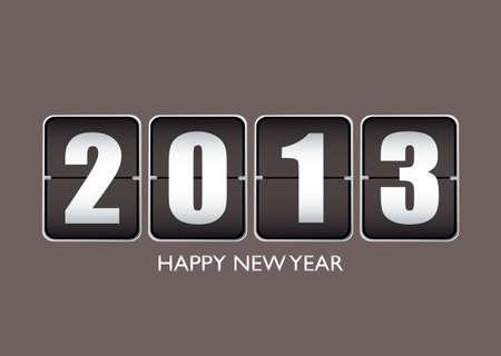 ticker: Happy new year 2013 background with ticker date calendar