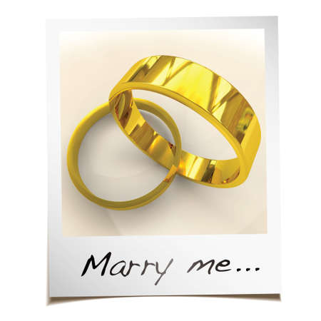 marry me: Romantic wedding proposal with instant photgraph and gold rings