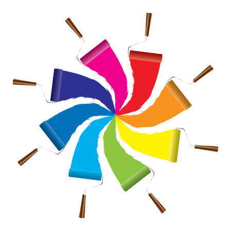 blue roller: Modern paint roller icon with rainbow of colors