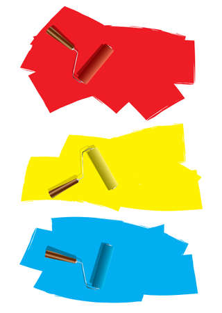 blue paintroller: Three decoration roller paint icons with splat element