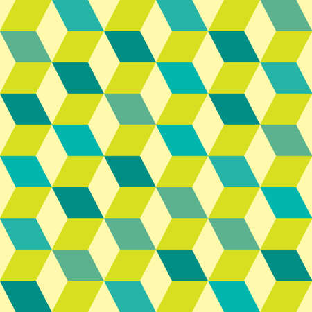 geometric patterns: Green retro seventies inspired tile background with box design