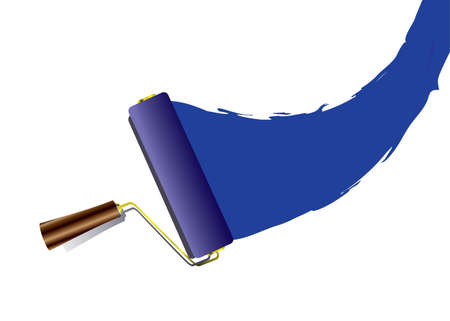 blue paintroller: Blue paint swoosh or splat with roller with handle and shadow Stock Photo