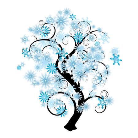 snow flowers: Blue and white snowflake abstract tree in silhouette