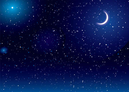 night sky: Space scene with stars and moon ideal desktop background