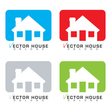 real estate icon: Collection of four bungalow house icons with colour background