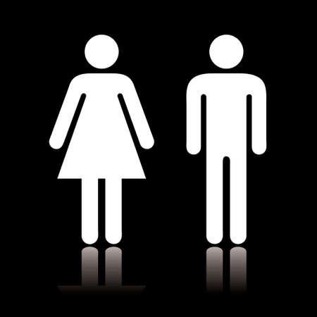 wc: Einfache Schwarz-Weiß WC-Symbol mit Reflexion