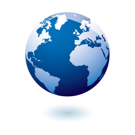 earth globe: Simple blue earth icon in the modern gel style