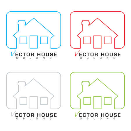 outline blue: Collection of bungalow homes with outline illustrations