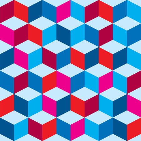 Optical illusion background in red white and blue with seamless pattern Vector