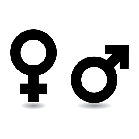 Black and white female male symbols with drop shadow Фото со стока