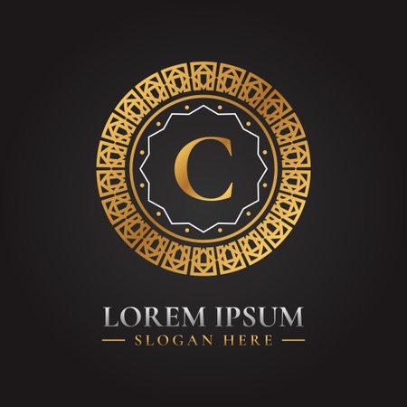 Letter c luxury golden vector logo template