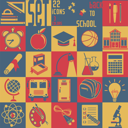 Set Back to schoo, vector, 22 flat icons (Education symbols)