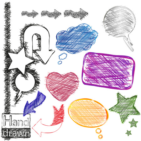 blackwhite: Hand-drawn, colorful and black-white speech bubbles, stars, heart and arrows