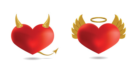 Angel and Devil Hearts, Isolated On White Background, Vector