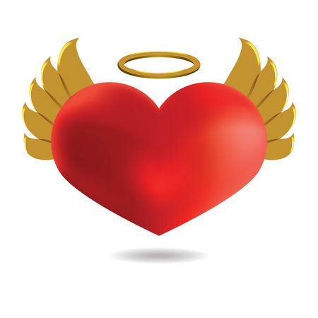 Red Angel  Heart with Golden Wings and Halo, Isolated On White Background, Vector