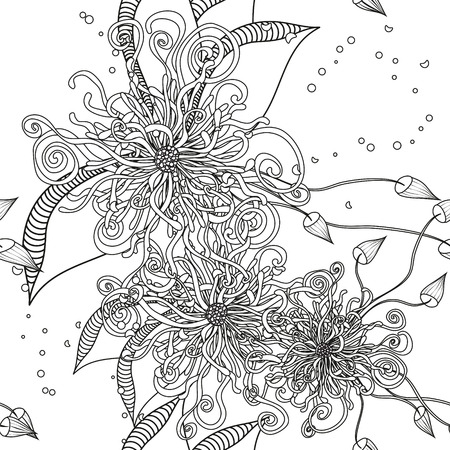Seamless Floral Doodle Background Pattern with Leaves. Design  zentangle. Decorative Hand Drawn Black and White Background. Coloring Book. Monochrome. Sketchy ornate zentangle texture with abstract flowers.