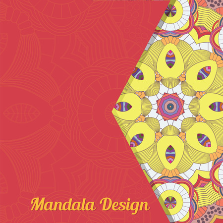 asian and indian ethnicities: Vector card with mandala. Vector background. Ethnic decorative elements. Vintage Round Ornament Pattern. Islamic, Arabic, Indian, Ottoman Motifs, Kaleidoscope, Medallion, Yoga, Meditation.