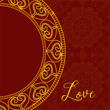 st  valentine's day: Vector card with Decorative Hearts. Vector Golden Mandala background. Ethnic decorative elements. Vintage Ornament Pattern. Perfect decorative element for greeting cards or any other kind of design. St. Valentines Day or Wedding Design.