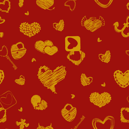 st  valentine's day: Seamless Pattern with golden Hearts. St. Valentines Day or Weddings Design Element. Doodle Style. Vector background.