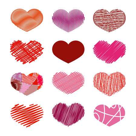 childlike: Set of Stylized hand-drawn Scribble Hearts Icons in different shades of red. Childlike, Dense, Sketch, Snare, Swash, Tight, Zigzag, Scrappy, Doodle, Cartoon, Comics. Perfect Design Element for Valentines Day or Wedding. Vector Stock.