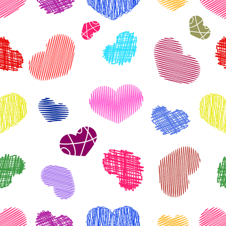 childlike: Seamless Pattern with  Colorful Stylized hand-drawn Scribble Hearts. St. Valentines Day or Weddings Design Element. Doodle Sketch Childlike Style. Vector background.