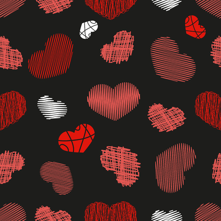 Seamless Pattern with Stylized hand-drawn Scribble Hearts. St. Valentines Day or Weddings Design Element. Doodle Sketch Childlike Style. Vector background. Illustration