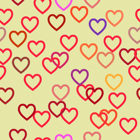st  valentine's day: Seamless Colored Pattern with Hearts. St. Valentines Day or Weddings Design Element. Vector background.
