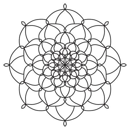 만다라. 빈티지 라운드 장식 패턴입니다. 양식에 일치시키는 황금 데이지 꽃. 어떤 종류의 디자인에 대 한 장식 요소입니다. 색칠 놀이 책.