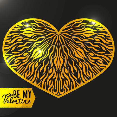 golden heart: Ornamental Golden Heart with highlights. Vintage ornate design element for Valentines Day or Wedding. Golden and Black Concept. Stock Vector Illustration