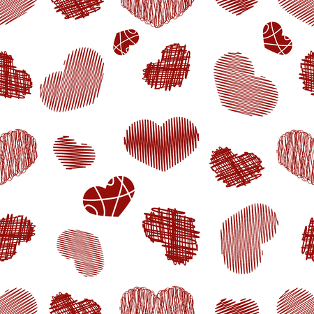 childlike: Seamless Pattern with Stylized hand-drawn Scribble Hearts. St. Valentines Day or Weddings Design Element. Doodle Sketch Childlike Style. Vector background. Illustration