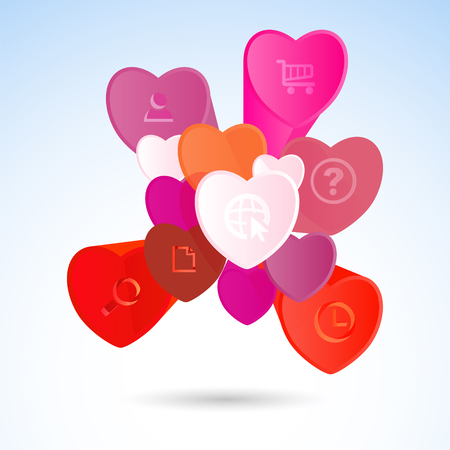 st  valentine's day: Vector infographic elements with colored hearts. St. Valentines Day or Weddings Design Element. Vector background.
