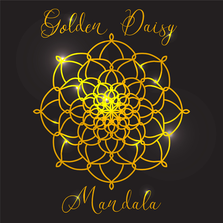 golden daisy: Vector Beautiful Flower Golden Daisy. Golden mandala with highlights. Geometric circle element made in vector. Decorative elements for any kind of design or Logotype.