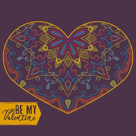 Ornamental Heart. Vintage ornate design element for Valentines Day or Wedding. Stock Vector