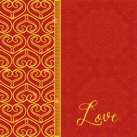 st  valentine's day: Vector card with Decorative Hearts. Vector Golden background. Ethnic decorative elements. Vintage Ornament Pattern. Perfect decorative element for greeting cards or any other kind of design. St. Valentines Day or Wedding Design. Illustration