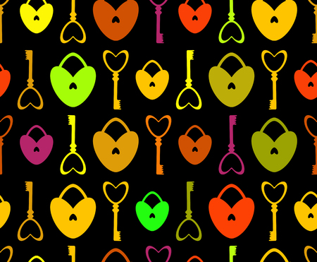 key lock: Seamless Pattern with lock and key in the form of heart. St. Valentines Day or Weddings Design Element. Vector background.