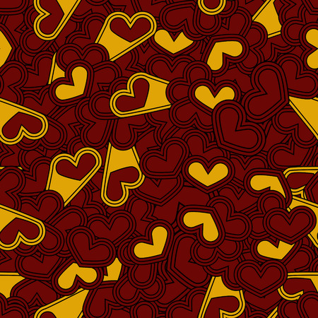 st  valentine's day: Seamless Colored Pattern with Hearts. St. Valentines Day or Weddings Design Element. Doodle Style. Vector background.