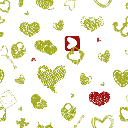 st  valentine's day: Seamless Pattern with Hearts. St. Valentines Day or Weddings Design Element. Doodle Style. Vector background. Illustration