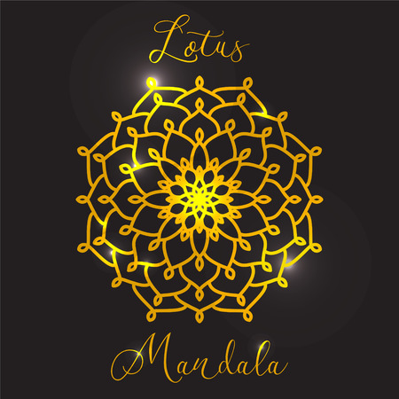 abstract flower: Vector Beautiful Flower Lotus. Golden mandala. Geometric circle element made in vector. Boho style. Islamic, Arabic, Indian, Ottoman Motifs, Kaleidoscope, Medallion, Yoga, Meditation. Decorative elements for any kind of design.
