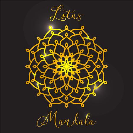 tatouage fleur: Vector Beautiful Lotus Flower. mandala d'or. �l�ment de cercle g�om�trique faite dans le vecteur. le style Boho. Islamiques, arabes, indiens, ottomanes, motifs Kal�idoscope, M�daillon, Yoga, m�ditation. Les �l�ments d�coratifs pour tout type de design.